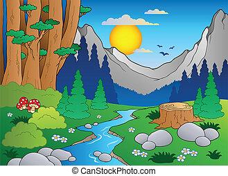 2, caricatura, paisaje, bosque
