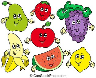 2, cartone animato, collezione, frutte