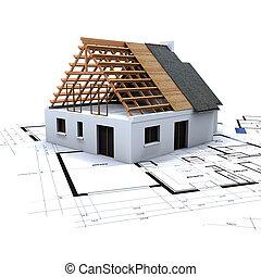 2, casa, desenhos técnicos, construção