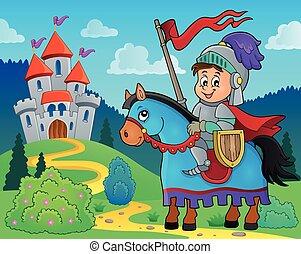 2, cavaliere, cavallo, tema, immagine