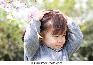 (2, cerise, japonaise, années, fleurs, old), girl