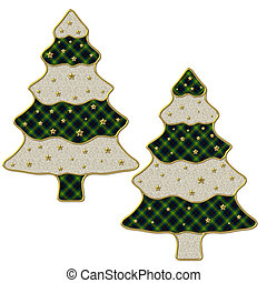 2 Christmas trees with golden stars