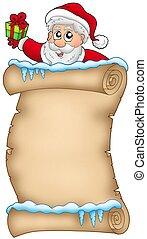 2, claus, hiver, santa, parchemin