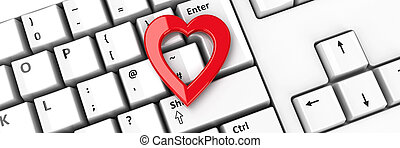 #2, coeur, icône, clavier