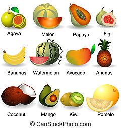 2, collezione, frutte