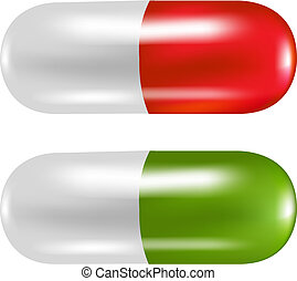 2 Color Pills With Gradient Mesh, Vector Illustration
