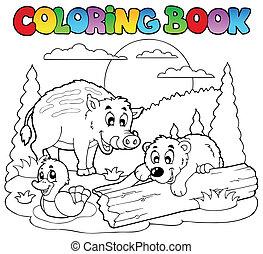2, coloração, animais, livro, feliz