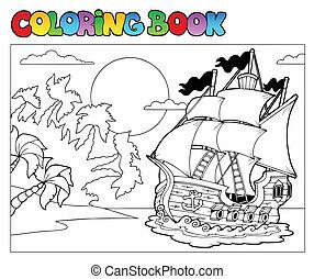 2, coloration, scène, livre, pirate