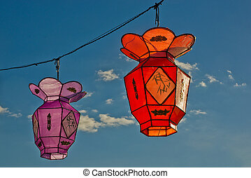 2 colorful Chinese Paper Lanterns