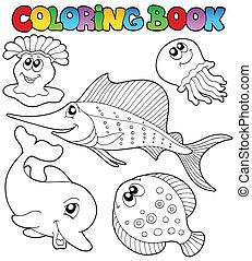 2, coloritura, animali, libro, mare