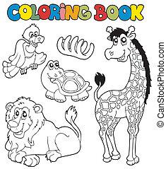 2, coloritura, animali, libro, tropico