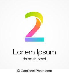2, compagnie, nombre, vecteur, conception, logo, template.