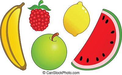 2, Conjunto, fruta