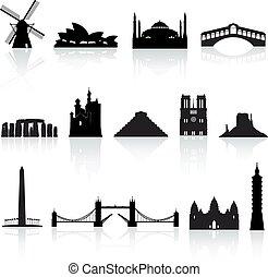 2, conjunto, vector, mundo, monumentos