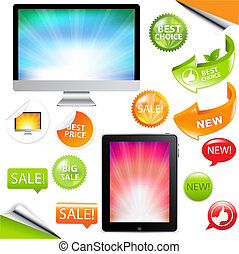 2 Contemporary Gadgets - Computer, Fictitious Touch Tablet And Phone, Isolated On White Background, Vector Illustration