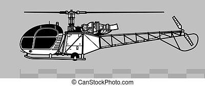2, contour, 313, alouette, vecteur, 318., sommes, aerospatiale, dessin
