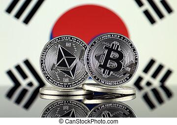 2, corea, términos, flag., (btc), bitcoin, cryptocurrencies,...