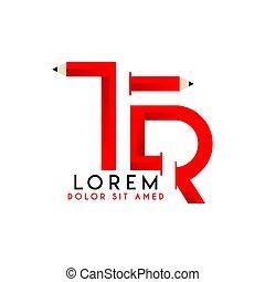 2, crayon, logo, noir rouge, tr, majuscule, simple, conception, initiale