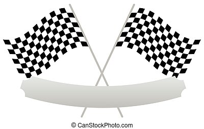 2 crossed racing flags with empty banner, plaque shape for texts