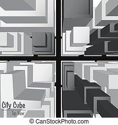 2, cube, vue, ville, sommet