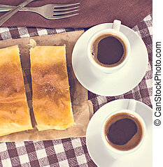 2 cups of coffee and cake or strudel.