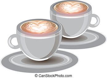 2 cups of coffee - foam, hearts, cups