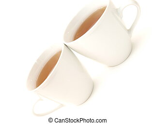 2 full white cups with tea, sideways perspective on white background