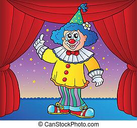 2, cyrkowy klaun, rusztowanie