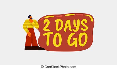 2 days to go banner. Red marketing poster with yellow font store advertisement offering valid discount online retail special sales information communication consumers with modern vector management.
