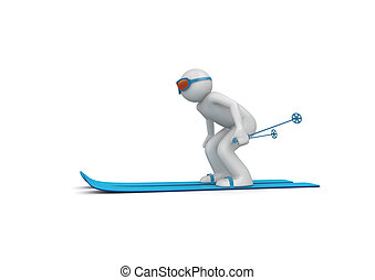 2, descendant skieur
