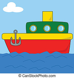 2, dessin animé, bateau