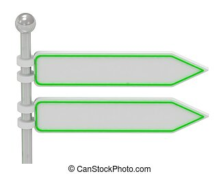 2 Directional signs isolated over white, 3d render illustration