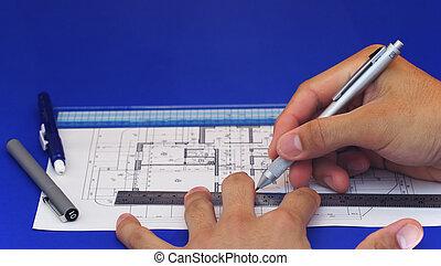 2, diseño, plan, piso