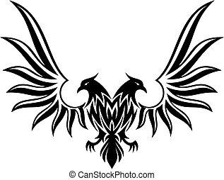 2, dobro, vetorial, encabeçado, águia