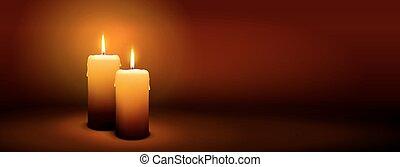 2, domingo, de, advenimiento, -, segundo, vela, -, candlelight, panorama, bandera