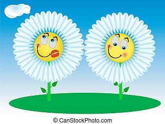 2, engraçado, flores