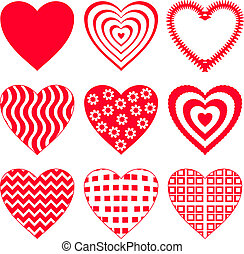 2, ensemble, coeur, valentin