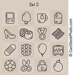 2, ensemble, contour, icônes