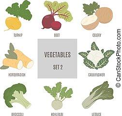 2, ensemble, vegetables.