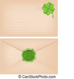 Envelopes With Wax Seal And Clover