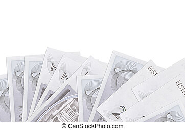 2 Estonian kroon bills lies on bottom side of screen isolated on white background with copy space. Background banner template