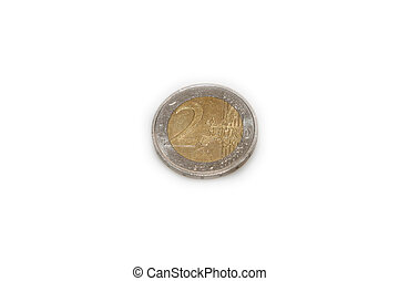 2 euro coin close up isolated over white