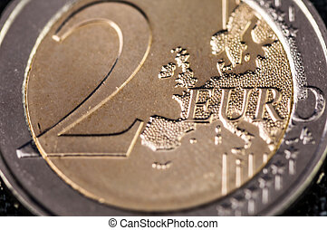 2 Euro Coin with europe frontside