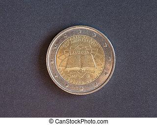 2, euro, italie, europe, monnaie