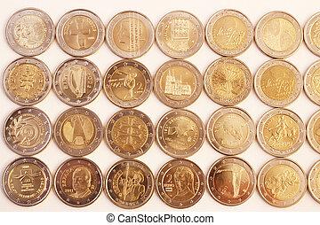 2, euro, mynter