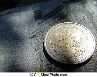 2, eurobiljet, en, meer
