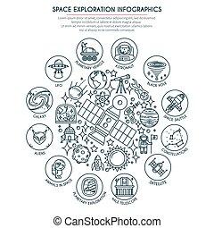 2, exploração, espaço, infographics