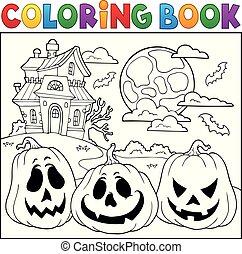 2, färbung, halloween, buch, kürbise