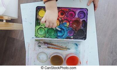 2, farben, year-old, aquarelle, kind