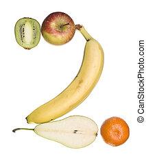 '2', feito, número, fruta, saída